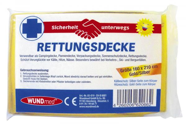 WUNDmed Rettungsdecke Gold / Silber 160 x 210 cm