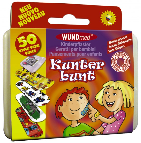 Kinderpflaster 50 Stück Kunterbunt