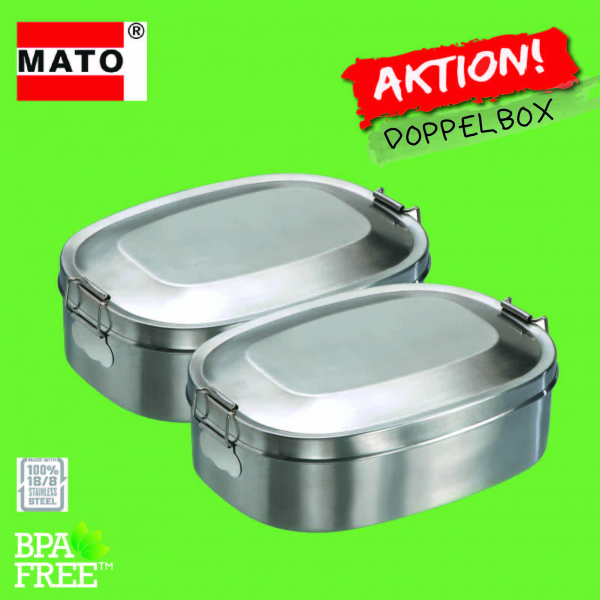 Edelstahl Jausenbox  Vesperdose Brotdose Doppelbox