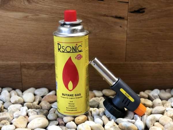 Rsonic Butan Gaskartusche 227g Butane Gas + Rsonic Flammspritzpistole Bunsenbrenner DOUBLE