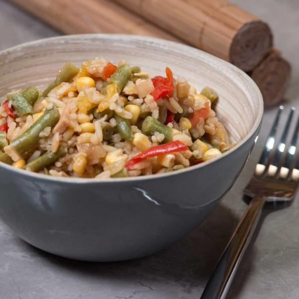 Gemüse mit gebratenem Reis Menü