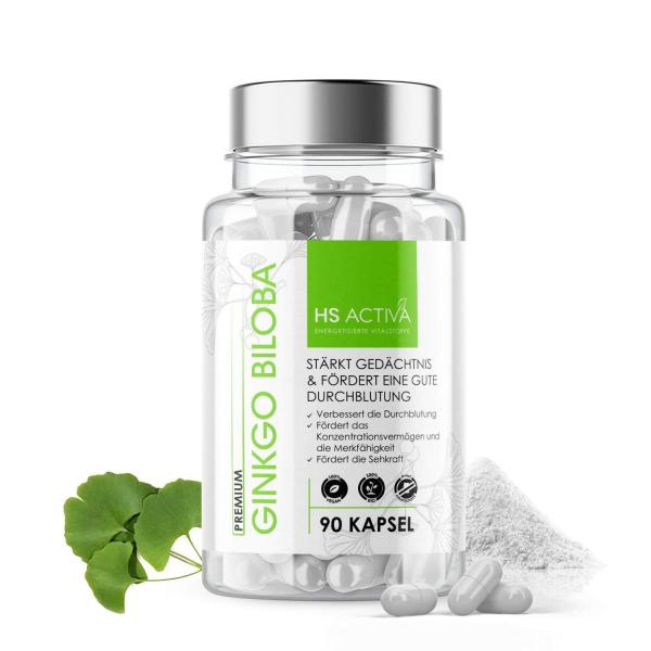 Ginkgo Biloba I 410 mg reines Ginkgo Extrakt 50:1 pro Kapsel I Hochdosiert: 20.500 mg Ginkgo Biloba I 90 vegane Kapseln