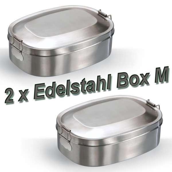"2x Edelstahl Jausenbox Vesperdose Brotdose ""break"""