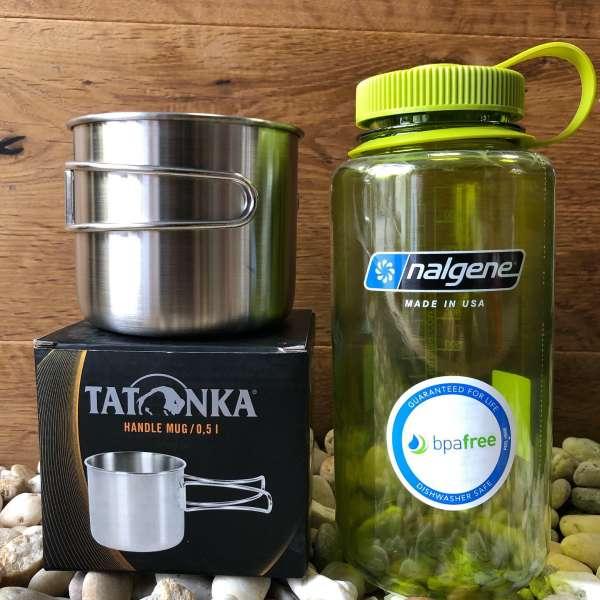 Tatonka Handle Mug 500ml Edelstahlbecher und Nalgene Weithals 1 Liter Trinkflasche GRÜN