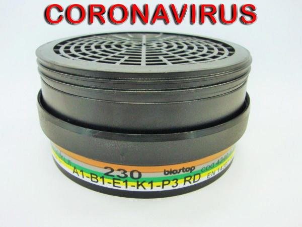 2x Mehrbereichsfilter 230 A1B1E1K1 P3R D Coronavirus HM
