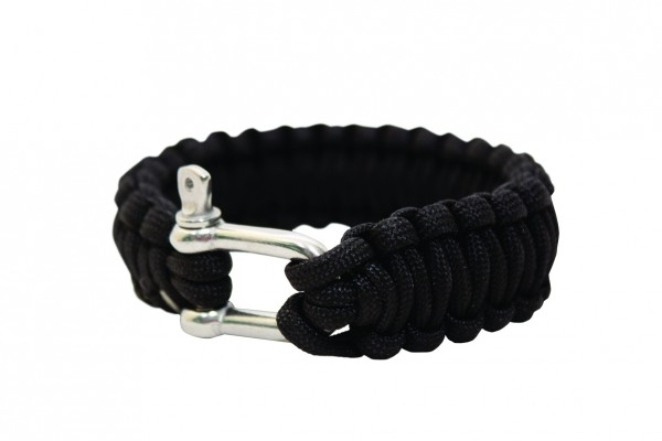 BCB International Paracord Armband schwarz mit Metall